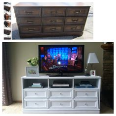 Dresser with tv stand the life from dresser to stand dresser tv stand walmart . dresser with tv stand image 0 diy Furniture Projects, Furniture Making, Home Projects, Diy Furniture, Refurbished Furniture, Repurposed Furniture, Furniture Makeover, Bedroom Tv Stand, Dresser Tv Stand