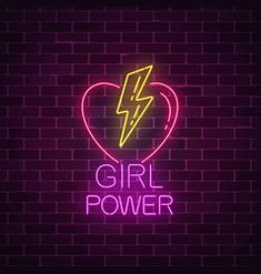 Girls power sign in neon style glowing symbol of vector Girl Power Tattoo, Girl Tattoos, Neon Girl, Neon Words, Brick Wall Background, Neon Design, Neon Wallpaper, Neon Aesthetic, Insta Icon