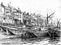 The river frontage at Rotherhithe, showing the Angel tavern. - People and places Victorian London, Victorian Steampunk, South London, Old London, Rogue Series, London Docklands, House Sketch, My Family History, London Places