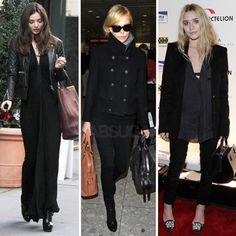 3 perfect ways to wear black... love the first look w/ the maxi dress & leather jacket combo