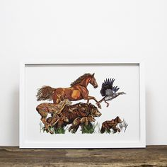 We offer framing options on all our prints - Animal Gang artwork by Luke Dixon Limited Edition Prints, White Wood, Giclee Print, Portrait, Artwork, Animals, Work Of Art, Animales, Auguste Rodin Artwork