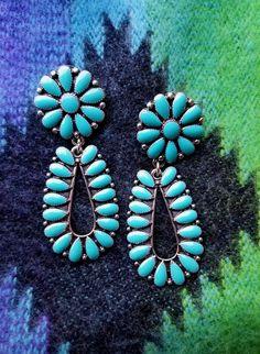 Cowgirl Gypsy FLOWER EARRINGS Faux Turquoise Southwestern silver tone  #Unbranded #earrings