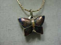 Butterfly Colorful Necklace Enamel Vintage by vintagejewelryalcove, $7.50