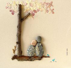 REGALO Pebble Arte único de la boda de regalo-Amor Regalos- Custom Art Pebble DE PAREJA Gift- del único compromiso de regalo-Pebble Art- Pareja personalizada