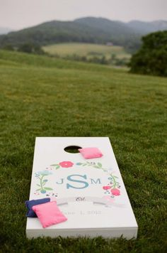 Personalized wedding cornhole | via loveyourdaydesignsblog.com | Wedding Wednesday: Event Entertainment