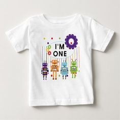 Shop Robot First Birthday Tshirts and Gifts created by kids_birthdays. Personalize it with photos & text or purchase as is! Baby Birthday, 1st Birthday Parties, Outer Space Party, Kids Birthday Party Invitations, Robot Design, Cute Toddlers, Toddler Gifts, Baby Shirts, Childrens Party