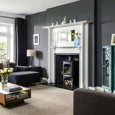 Wall Colour With Painted Edwardian Fire Surround More Striking Than I Had Planned Victorian Fireplace Log Burner A Contemporary Look
