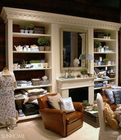 Love the idea of adding shelving/wall unit around the fireplace. If the fireplace has no hearth, put the mantel higher with higher beams on the sides of the fireplace Fireplace Mantels, Mantle, Wall Units With Fireplace, Living Area, Living Rooms, House Inspirations, Topiaries, Crown Molding, Hearth