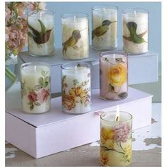 Studio Candle Gift Set-Room Service Home Napkin Decoupage, Decoupage Art, Decoupage Printables, Decorative Soaps, Craft Stalls, Decoupage Furniture, Candle Containers, Diy Candles, Candle Making