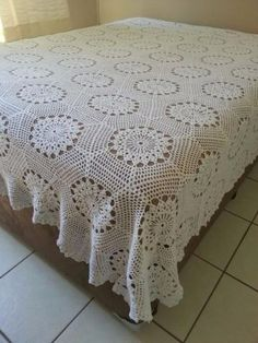 Plaid Crochet, Vintage Crochet, Cotton Crochet, Crochet Bedspread Pattern, Afghan Crochet Patterns, Filet Crochet Charts, Crochet Diagram, Diy Crafts Crochet, Crochet Projects