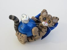 Polymer Clay Brown Tabby Cat Christmas Ornament by HeartOfClayGirl, $16.95