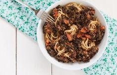 Spaghetti with black Lentils   Spaghetti mit schwarzen Linsen   food-vegetarisch.de
