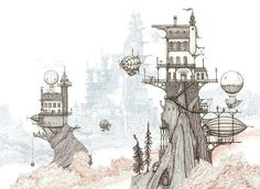 In this glorious #airship #illustration by Aaron Howdle (@aaronhowdle) of dirigible and hot air balloons docking and undocking with mountaintop castle-like buildings Aaron shows us a departure from his typical black-and-white airship drawings adding a bit of color to the mix.  The result is a lovely view of Aaron's world of Cloudtop Archipelago complete with fluffy pink clouds and a blue gray  haze obscuring larger parts of a cloudtop city beyond our focus. I loved Aaron's monochromatic…