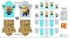 4my3boyz Fabrics offers this Millions of Minions Minion Hand Puppet 24x44 Cotton Fabric Craft Panel in their online fabric store.