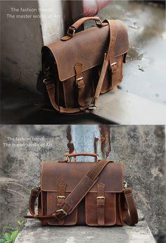 """Handmade Vintage Leather Messenger Bag / Leather Briefcase / Leather Satchel / 13"""" MacBook 13"""" Laptop Bag (S25)"""