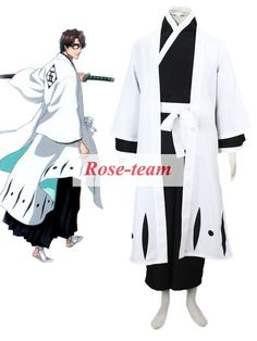 Fantasia Anime Lolita-Custom Made Bleach Gotei Thirteen Sosuke Aizen Captain of the 5th Division Soul Reaper Kimono Anime Cospla
