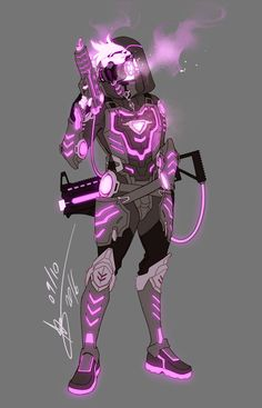 character design Tutorial How To Draw is part of Character Design Design Illustration Tutorials By Envato Tuts - Overwatch OC Redesign Neon by mangarainbow on Fantasy Character Design, Character Design Inspiration, Character Concept, Character Art, Armor Concept, Concept Art, Fantasy Characters, Anime Characters, Espada Anime