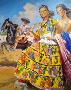 Jesus Helguera, Mexico Culture, Mexican Art, Calendar, Painting, Vintage, Bow Braid, Romanticism, Murals