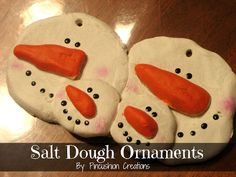 Salt Dough Snowman Family Ornament