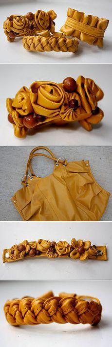 Из старой кожаной сумки делаем браслеты. Мастер-класс.