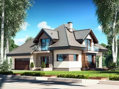 Zdjęcie projektu Opałek III N haus - Baustil Building A Cabin, Home Building Design, My House Plans, Modern House Plans, House Outside Design, Tiny House Exterior, Log Home Interiors, Modern Bungalow House, Beautiful House Plans