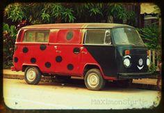 Ladybug Driver - Fine Art Travel Photography TTV 8x11.5 Photograph of a Ladybug Van, Laos. Etsy.