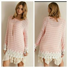 SALE The Lisa Sweater Tunic in size S M L Beautiful sweater Tunic in a peach shade  Perfect for the season,  absolutely gorgeous,  Note Model is wearing a Ruffle slip not included  Sizes available S M L  Material is rayon,  polyester  Price Firm unless bundled Boutique  Tops Tunics