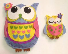 Set of two felt owls. Made from kits that were bought in Wilkinson's quite a while ago. Finally made in September 2015. Would have preferred less sticking things on and more sewing things on.