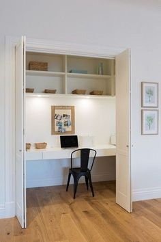 Home Office Furniture: Choosing The Right Computer Desk Home Office Closet, Closet Desk, Office Nook, Home Office Space, Home Office Design, Desk Office, Closet Turned Office, Mini Office, White Office