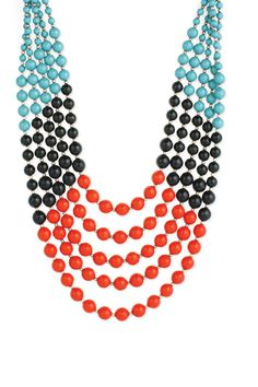 Turquoise, Red & Black Bead Necklace.