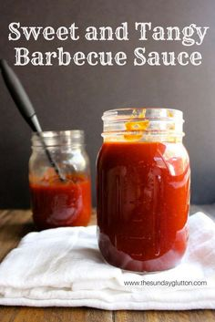 Sweet and Tangy Barbecue Sauce. This sweet and tangy barbecue sauce is thick sticky and perfect for dipping dunking basting slow cooking baking grilling etc. Homemade Barbecue Sauce, Barbecue Sauce Recipes, Barbeque Sauce, Barbecue Chicken, Homemade Sauce, Grilling Recipes, Crockpot Recipes, Cooking Recipes, Bbq Sauces