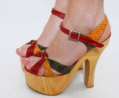 Vintage 70s PLATFORM Shoes SNAKESKIN Sandals by LotusvintageNY, $145.00