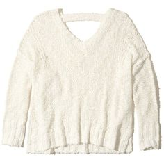 Hollister Oversized Open Back Sweater ($45) ❤ liked on Polyvore featuring tops, sweaters, white, open back tops, oversized sweaters, white v neck sweater, white oversized sweater and strappy top