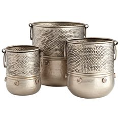 Brand new beautiful home accent. Moolah Rustic Nickel Planters - Set of 3 by Cyan Design #homedecorate #uniquehomedecor #homedecorations #innovationsdesignerhomedecor #homeaccents #interiordesigninspiration #homedecorating #homedecorshop #homedecorstore #homedecorshopping $182.50 ➤ http://bit.ly/2rxDnVX