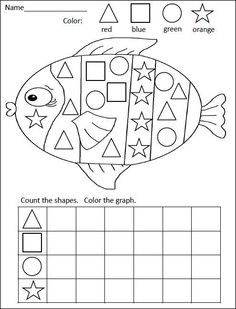 FREE kindergarten math activity for practiciing shapes and graphing= Rainbow Fish Graphing Activities, Kindergarten Math Activities, Homeschool Math, Fun Math, Rainbow Fish Activities, Numeracy, Math Games, Shapes Worksheet Kindergarten, Preschool Shapes