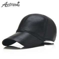 78fbbe87743b9  AETRENDS  2017 New 6 Panels 100% Leather Baseball Caps Men Black Sheepskin  Leather Hats for Men Snapback Caps Z-5292