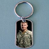 Stainless steel photo dog tag key ring with Krystal Clear-Itz photo cover. Approximate photo area is 44mm x 24mm. Photo Jewelry