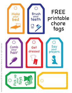 Free printable chore tags to keep your kids organised and on task with their daily routines and chores Chores For Kids, Activities For Kids, Daily Routine Chart, Daily Routines, Mormon Channel, Chore Chart Kids, Chore Charts, All About Me Preschool, Family Command Center