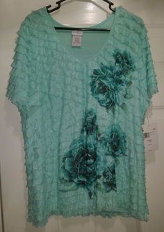 Jaclyn Smith NWT Woman's Plus Light/Dark Green Floral Layered Look Shirt Size 1X #JaclynSmith #Blouse #Casual