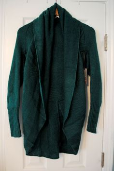 Like the color, looks like it has shape even for being an open front cardigan. From a stitch fix blog review.
