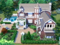 This inviting beautiful family mansion has coastal styling with upscale features. The front and rear porches add usable outdoor living space. The Great room offers a fireplace and plenty of space. Sims 4 House Plans, Sims 4 House Building, Lotes The Sims 4, Sims 3, Muebles Sims 4 Cc, Sims 4 House Design, Casas The Sims 4, Villa, Sims Games