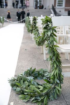 Greenery Wedding Aisles Brides / Style Me Pretty / Wedding Chicks / Mod Wedding / Elegant Wedding Invites Wedding Ceremony Ideas, Herb Wedding, Wedding Aisle Decorations, Garland Wedding, Wedding Bouquets, Wedding Blog, Spring Wedding, Wedding Aisles, Wedding Backdrops