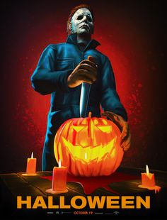 "Artists are invited to create one-of-a-kind static artwork for Universal Pictures' newest film ""Halloween"". Halloween Horror Movies, Scary Movies, Halloween 1, Halloween Drawings, Horror Icons, Horror Movie Posters, Michael Myers, Halloween Universal, Horror Artwork"