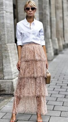 Tiered maxi skirt styles to wear right now