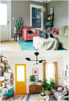 No ambiente de 11 metros quadrados, o morador conseguiu organizar espaços para relaxar e para trabalhar