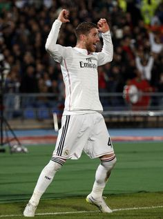 Sergio Ramos of Real Madrid CF celebrates scoring a goal during the FIFA Club World Cup Final match between Real Madrid CF and San Lorenzo at Le Grand Stade de Marrakech on December 20, 2014 in Marrakech, Morocco.