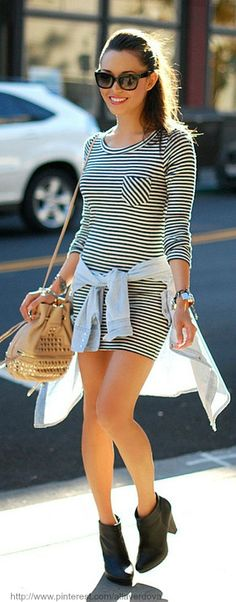 Street style. love the horizontal stripes in the dress.