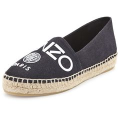 Kenzo Logo Canvas Espadrille Flat ($185) ❤ liked on Polyvore featuring shoes, flats, noir, woven shoes, espadrilles shoes, flat espadrilles, flat canvas shoes and woven flats