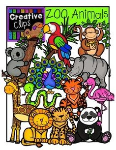 This 52-piece set is filled to the brim with all your zoo animal favorites! Included are 26 vibrant, colored images and 25 black and white version (not shown in the preview). $