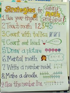 "Nice strategies and visuals for solving math problems.  I appreciate that ""use your fingers"" is at the top.  It should not be a bad thing.  Those are some handy built-in manipulatives we were born with."